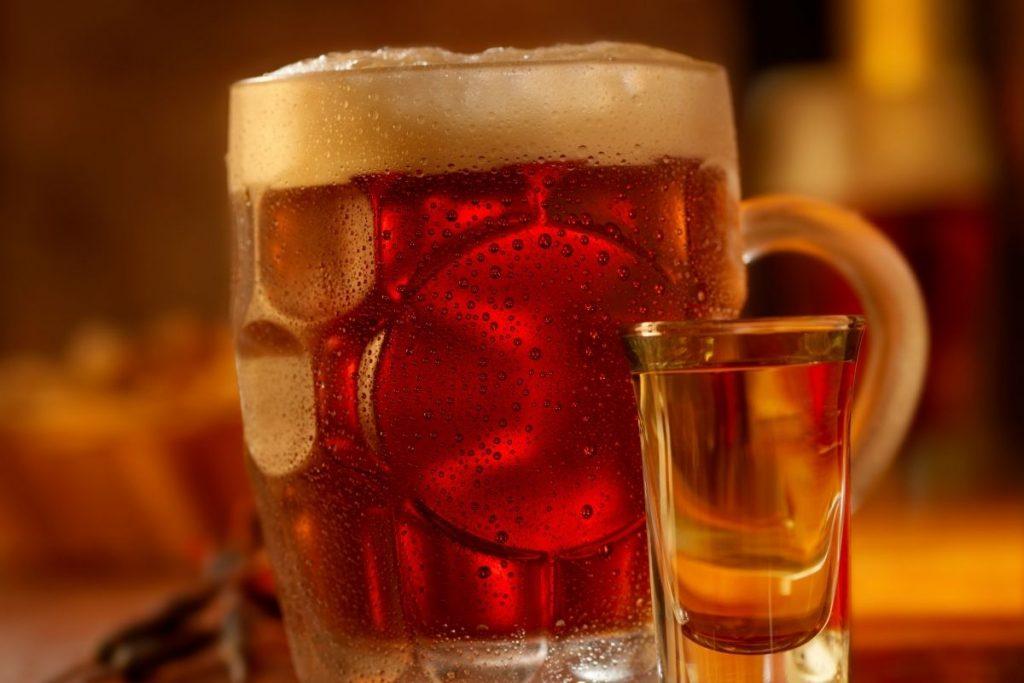 boilermaker (beer with bourbon)