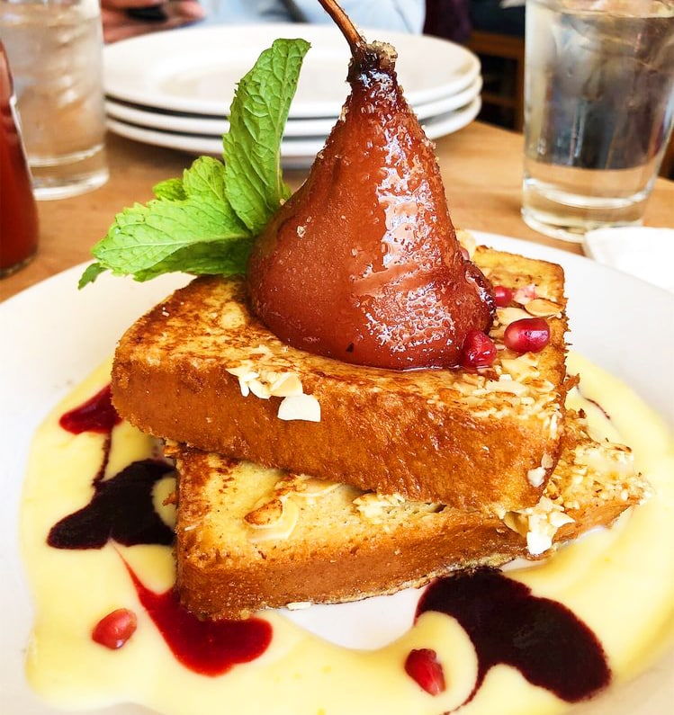 wine poached pears & Bostock french toast