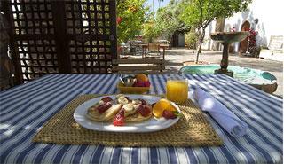 breakfast at The Korakia Pensione in Palm Springs
