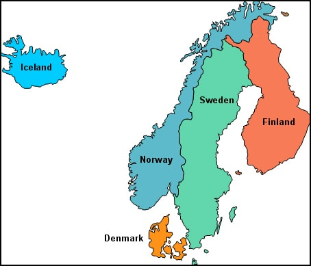 map of Scandinavia and iceland