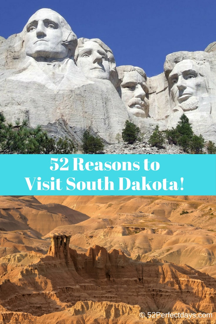 South Dakota is full of rugged landscapes, winding rivers and Old West history. You'll find culture and adventure and 52 Reasons to Visit South Dakota! #southdakota #travel #northamerica #USA