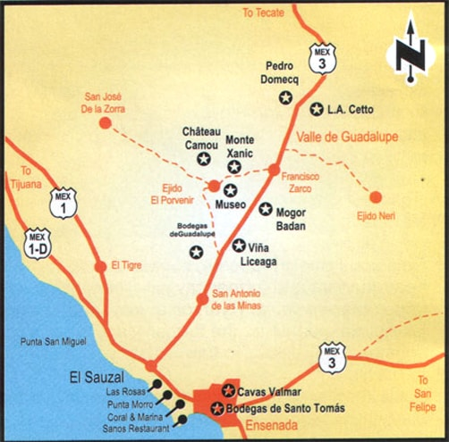 Baja California Wine Map
