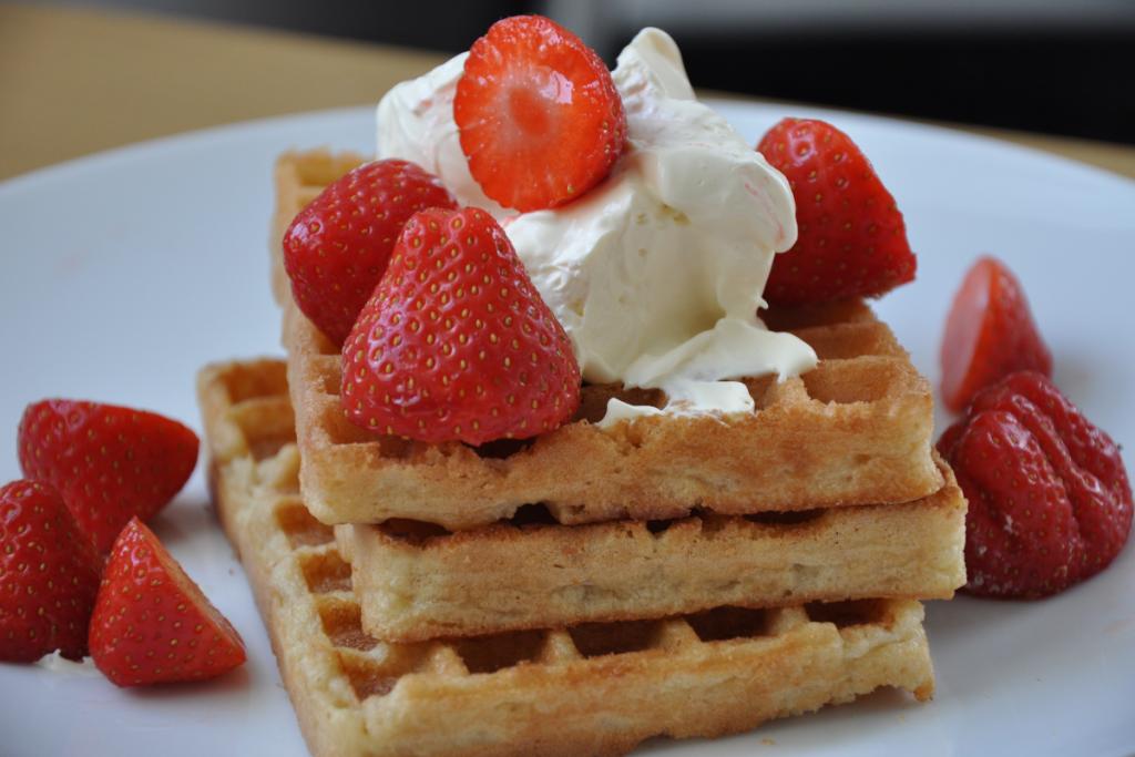 strawberry waffles at Sherman's Deli