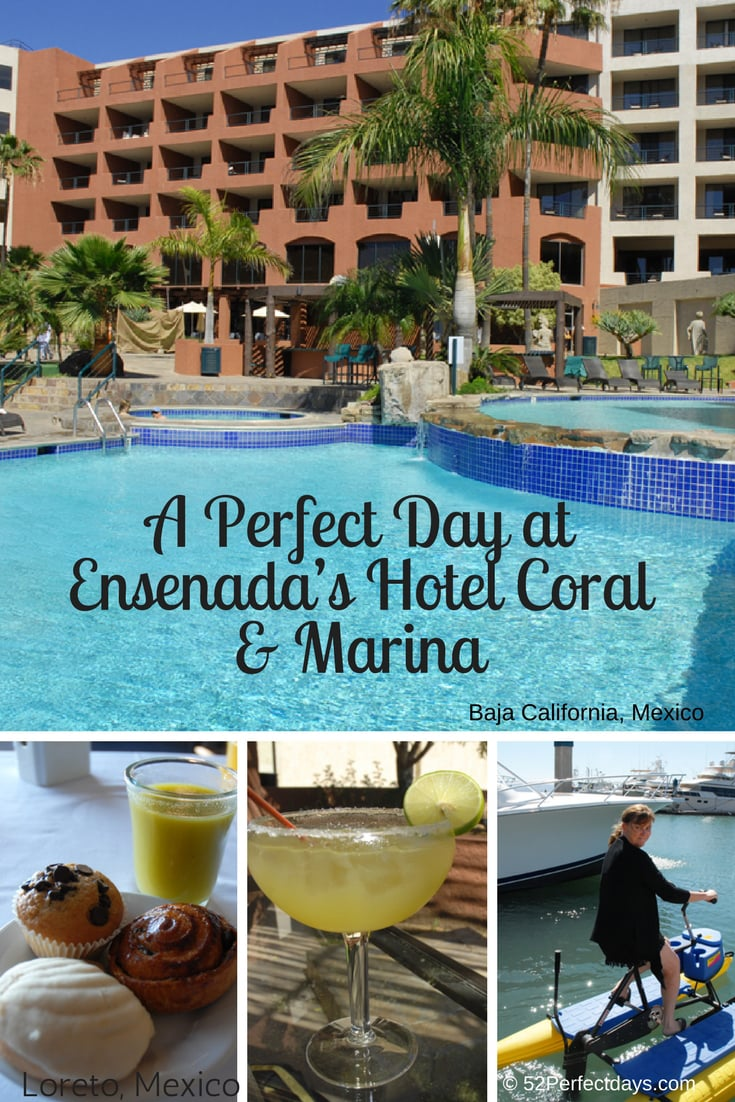 Visiting Valle de Guadalupe or Ensenada?  Hotel Coral & Marina is the perfect hotel! It sits by a marina and was built as a semi-circle so each room has a view of the pool, marina as well as sunrise and sunset. #travelhotel #bajacalifornia #mexico