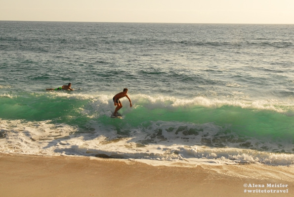 Surfer at Ponto Beach in Carlsbad, California