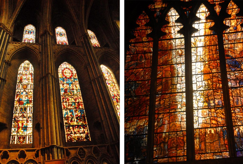 Stained glass windows in Durham Castle in Northern England
