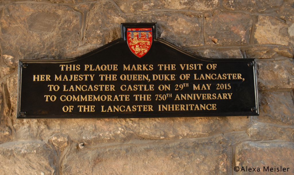 plaque at lancaster castle in lancaster, england