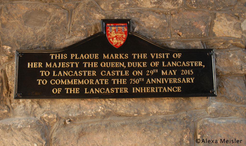 plaque at lancaster castle in lancaster, england