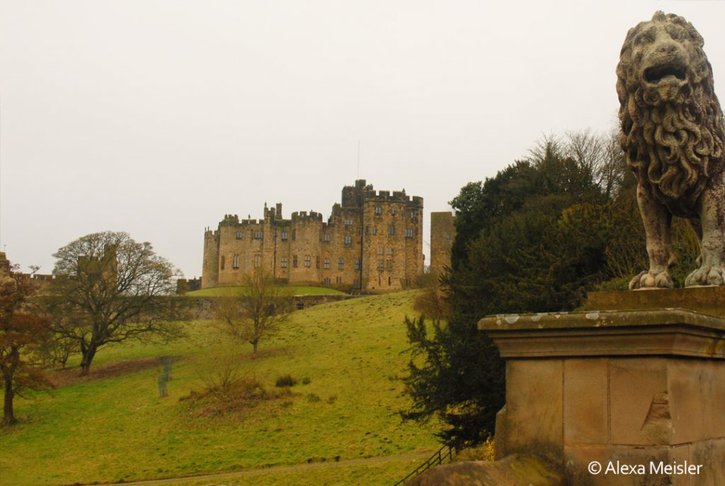 View of lion and alnwick castle in northern england