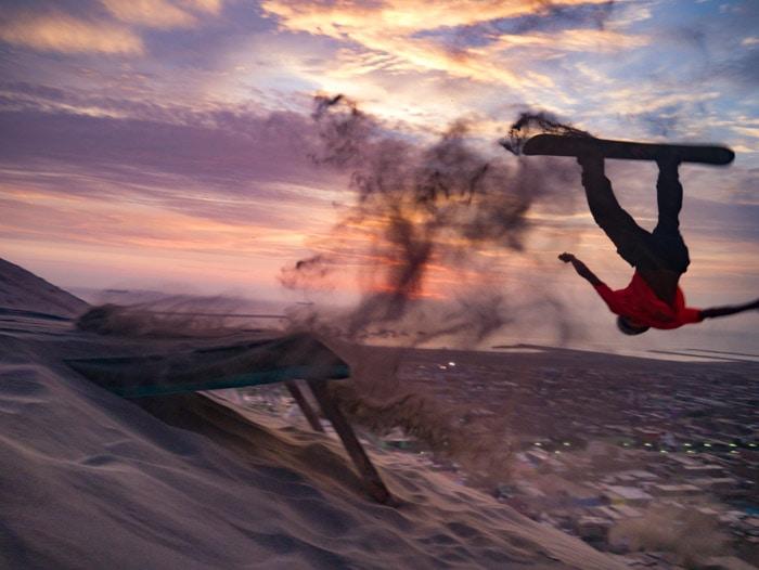 Sandboarding at North Dune in Huanchaco, Peru
