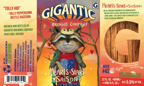 Giagantic brewing beer label by Maryanna Hoggatt for Hearts Stars saison