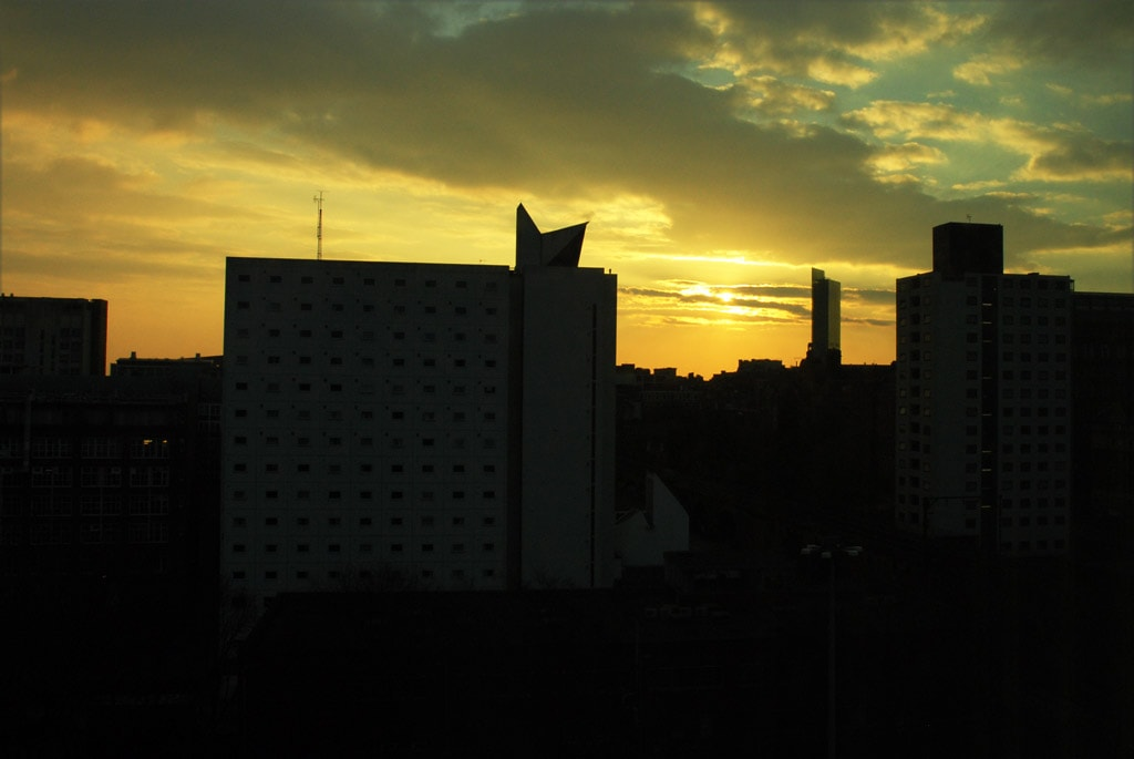 Sunset from Macdonald Manchester Hotel & Spa in Northern England