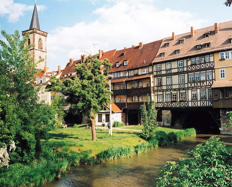 The Merchants' Bridge in Erfurt, Germany