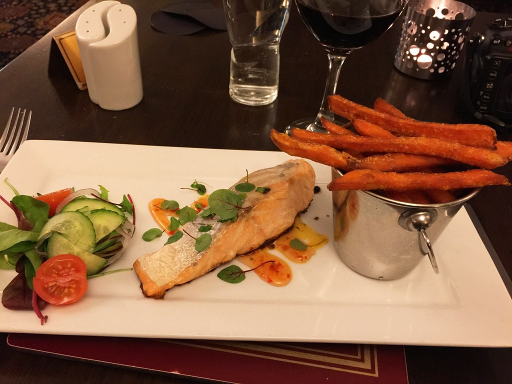 battlesteads hotel restaurant northern england dinner with salmon