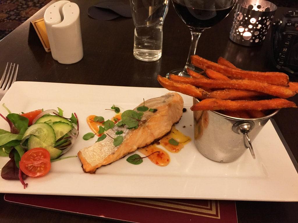 battlesteads hotel restaurant northern england dinner with salmon