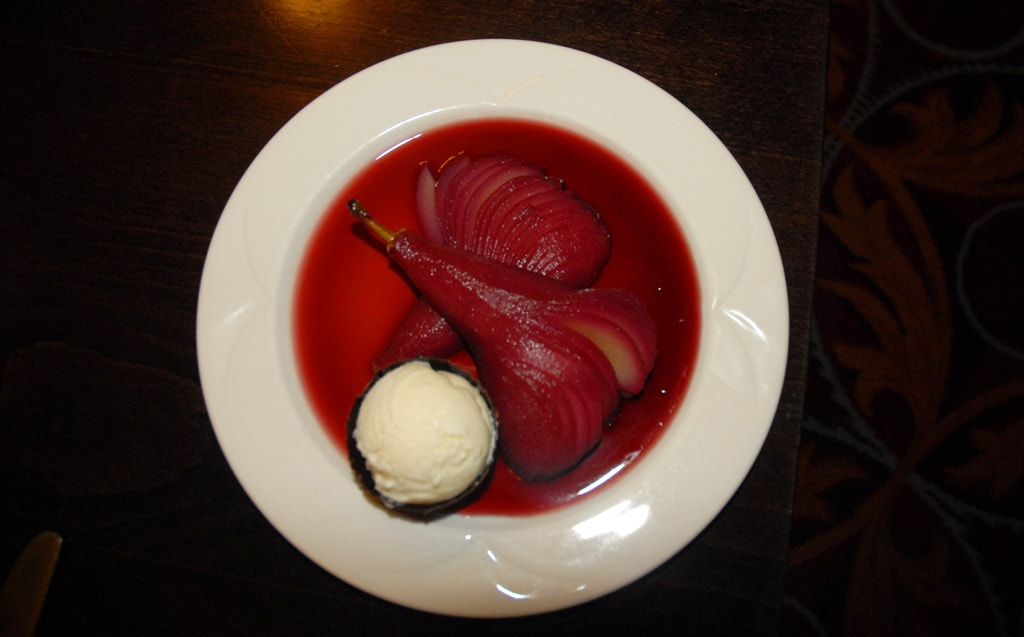 poached pear from No 59 Old Elvet restaurant in durham, england