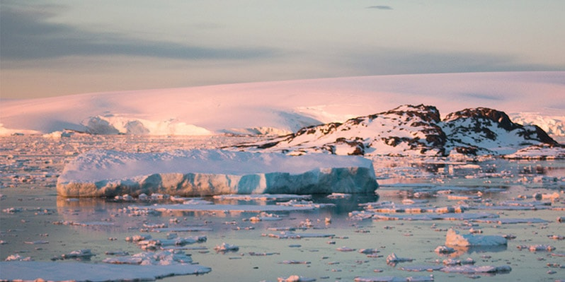 Sunset in Neumayer channel in Antarctica