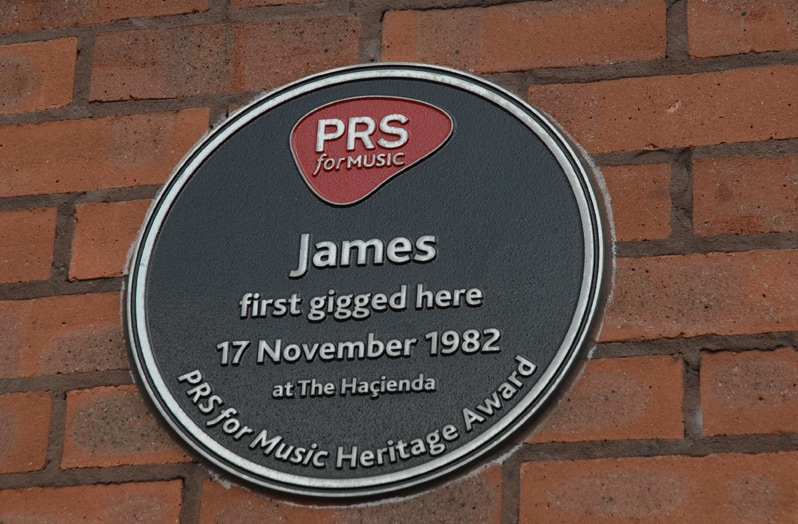 Plaque for James at Hacienda Nightclub in Manchester, England