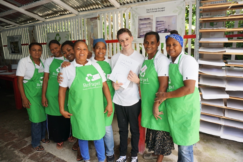 recycled paper Dominican Republic Volunteer activity with Fathom cruise