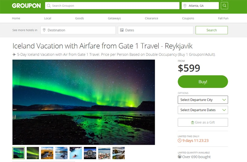groupon coupon travel deal iceland