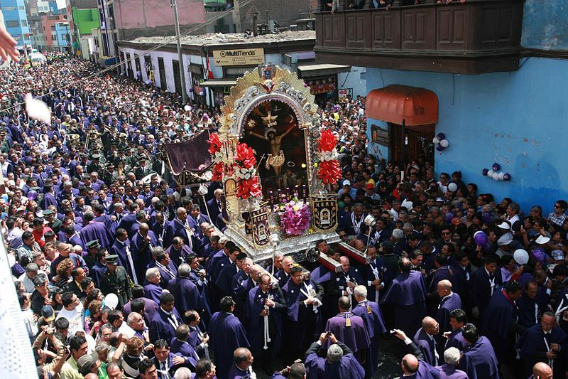 Lord of miracles procession in Peru