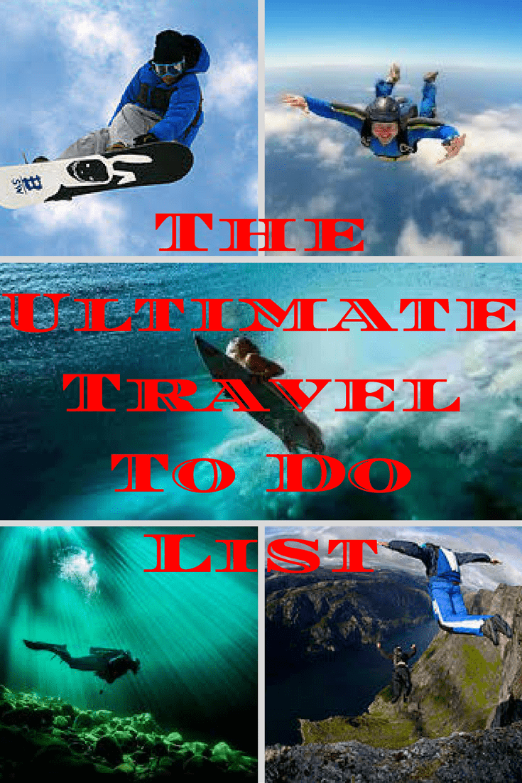 Here is the ultimate travel to do list. It's a great start for creating a list of all the things you'd like to accomplish in your travel lifetime. #todolist #traveltips #travelguide #travel