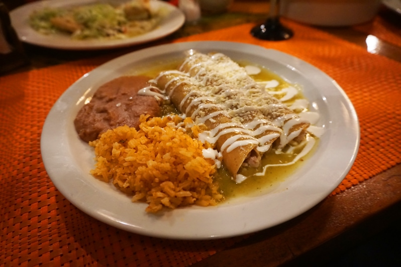 Enchiladas Verde at Las Cazuela de Mole in Rosarito, Mexico