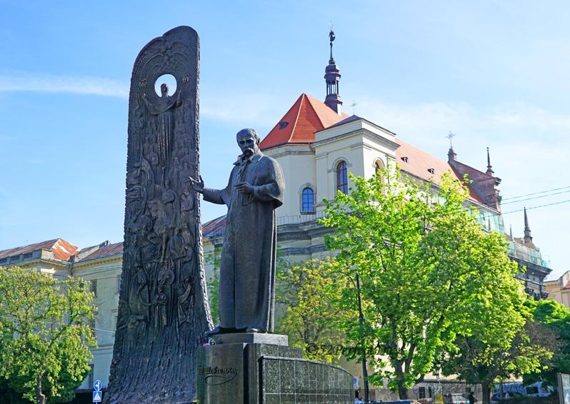 Taras Shevchenko statue in Lviv, Ukraine