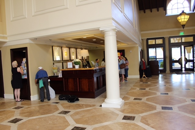 St. Simons Island, Georgia: The King and Prince Resort. The reception desk at the resort