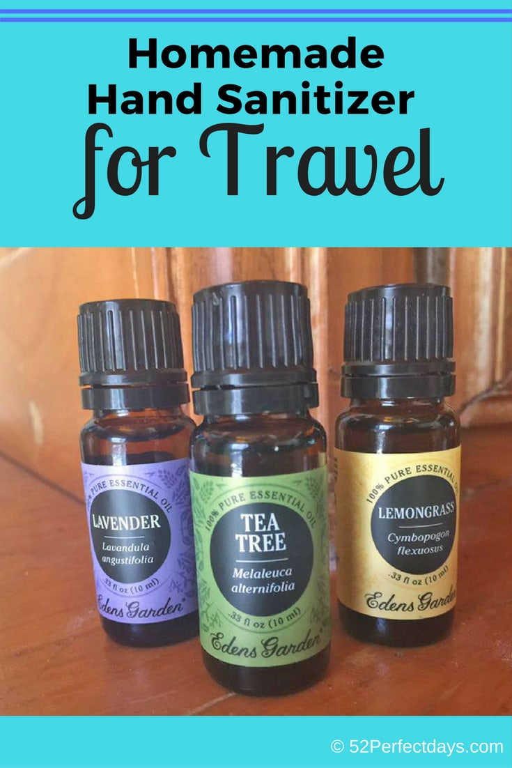 It's really simple to make homemade hand sanitizer for travel. A few simple ingredients and you have natural hand sanitizer. #homemade #handsanitizer #travel #travelideas