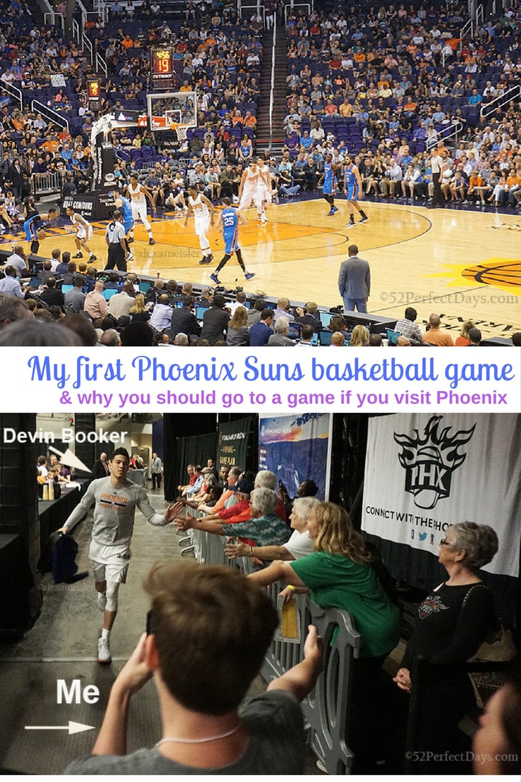 My first Phoenix Suns basketball game & why you should go to a game if you visit Phoenix. You might even meet Devin Booker! #phoenix #basketball #game #arizona #USA #northamerica #travel