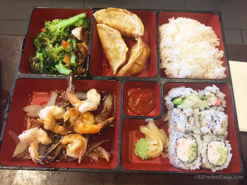 Bento box at Yi Sushi in El Cajon, California