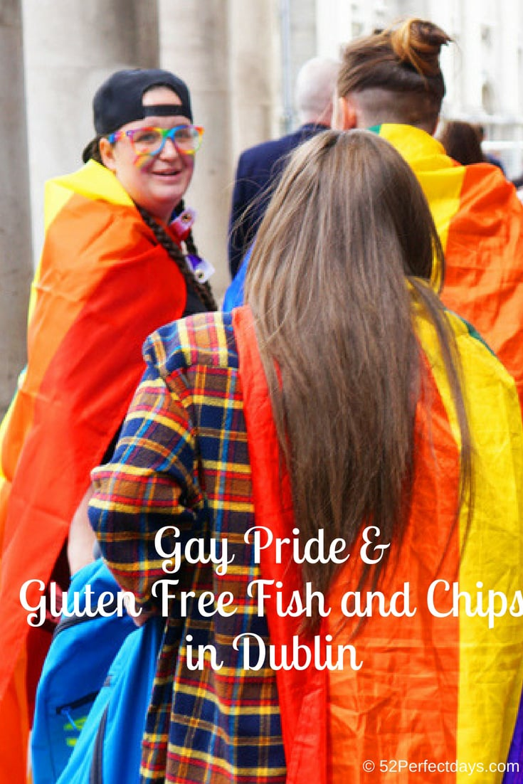 Stumbling upon Gay Pride & the best Gluten Free Fish and Chips in Dublin, Ireland. Two must experience events in Dublin.  #dublin #gaypride #ireland #europe #travel