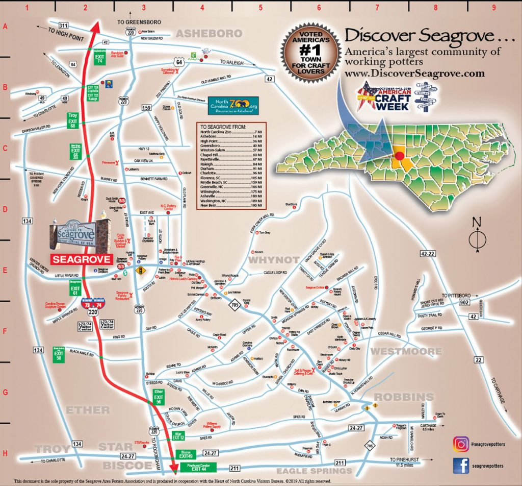 map of seagrove potters