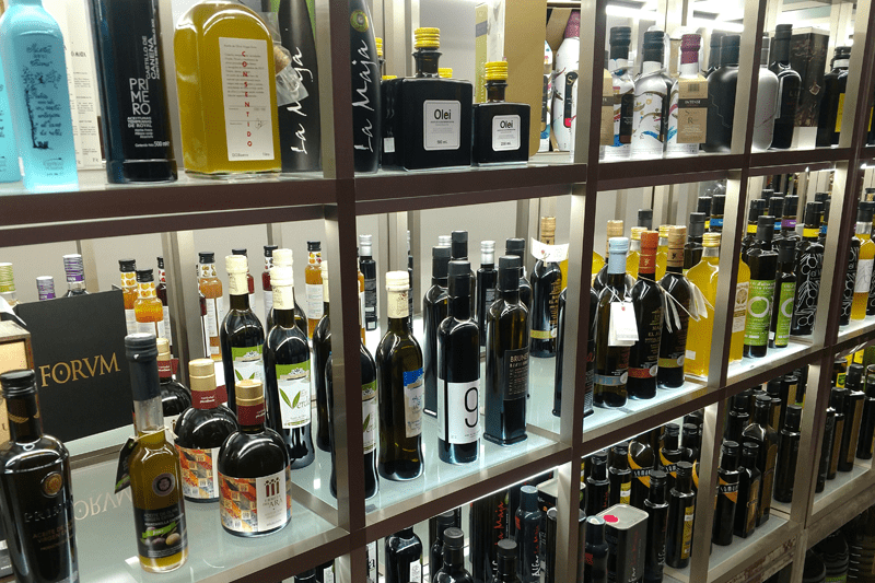 Racks of olive oil at Oil Sal