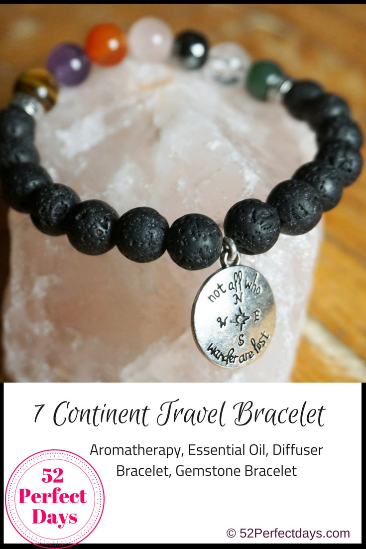 "7 Continents Travel Bracelet: Handmade gemstone bracelets for anyone who loves to travel or wants to make travel a priority in their life! Whether you are celebrating visiting all seven continents or are hoping to start your travel bucket list, this is the perfect bracelet. These Aromatherapy Travel Bracelets contains beads representing the seven continents, lava stones and an ""All Who Wander Are Not Lost"" charm. #travel #bracelet #aromatherapy"