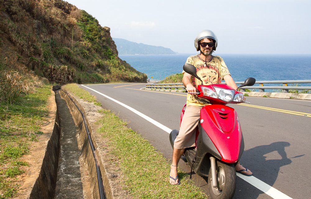 Riding a scooter along the east coast of Taiwan