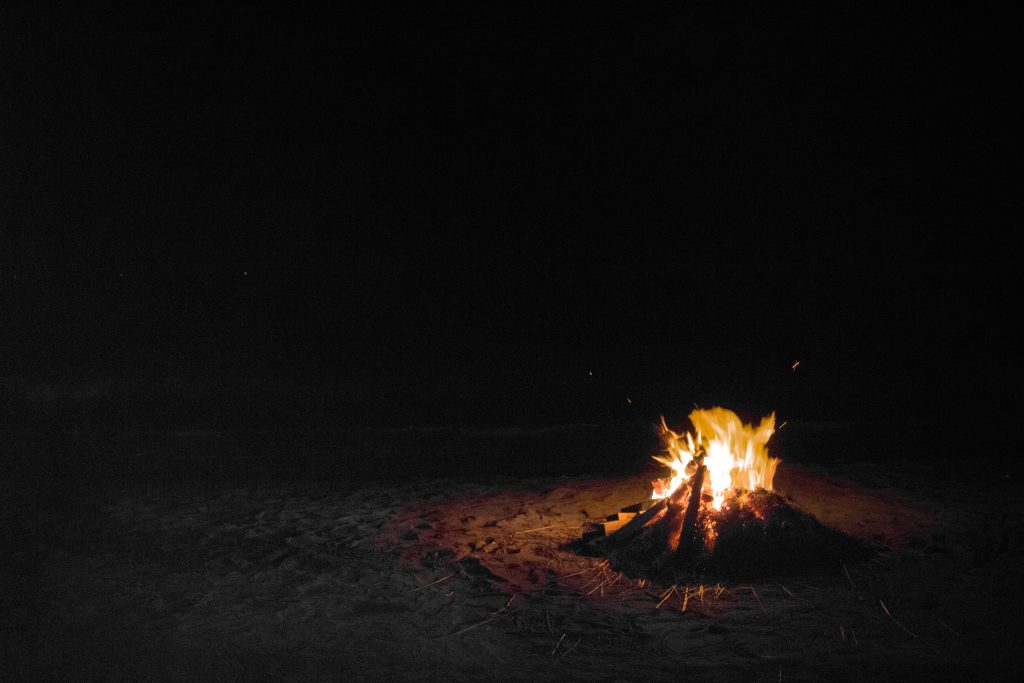 bonfire on the beach in Corpus Christi