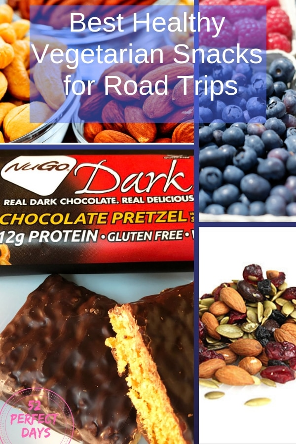 Best Snacks for Road Trips. Simple, Delicious & Healthy vegetarian snacks (that are also gluten-free). Many can double for breakfast and lunch on the go. #roadtrip #travelsnacks #glutenfree #vegetarian
