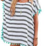 Chalier Womens Striped Chiffon Swimwear cover up