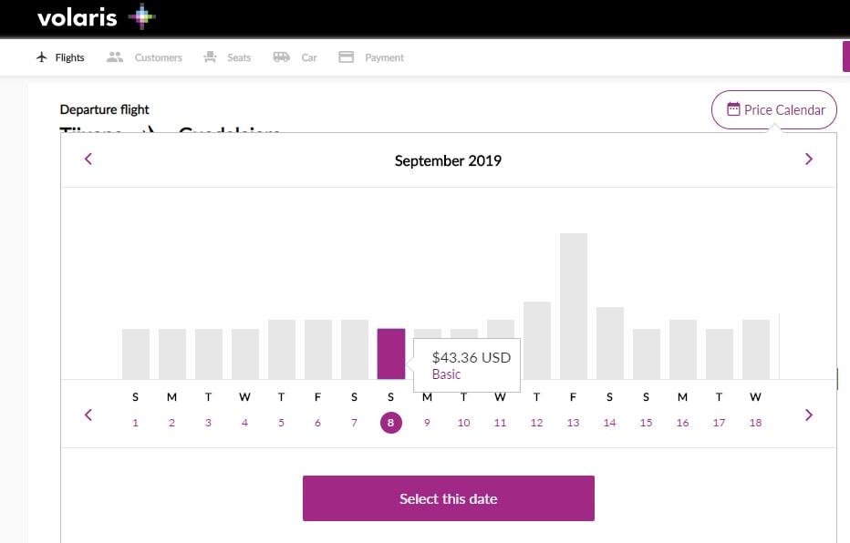 Volaris price calendar