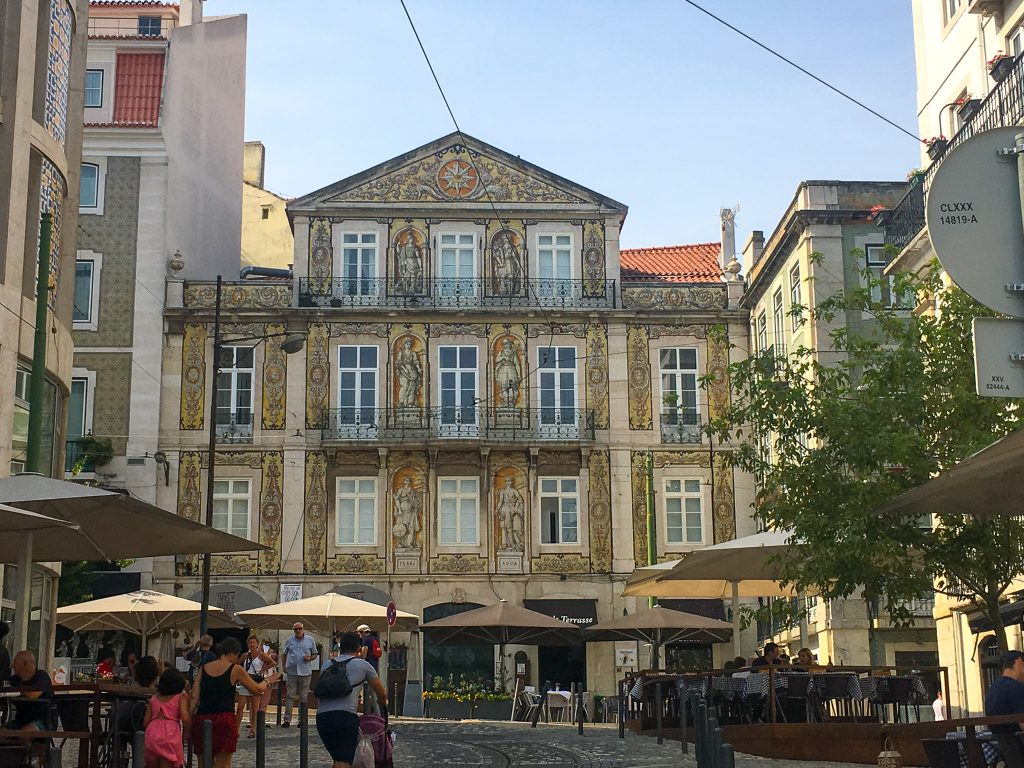 tile covered building in Lisbon, Portugal