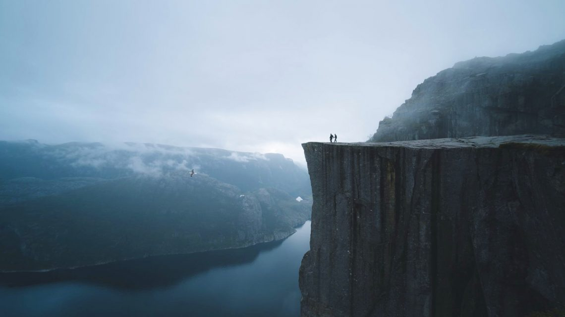 Exploring gorge in Norway