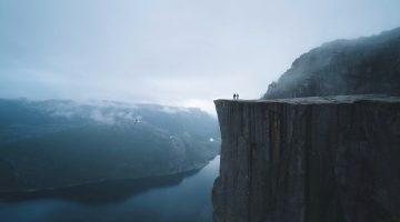 Exploring gorge in Norway