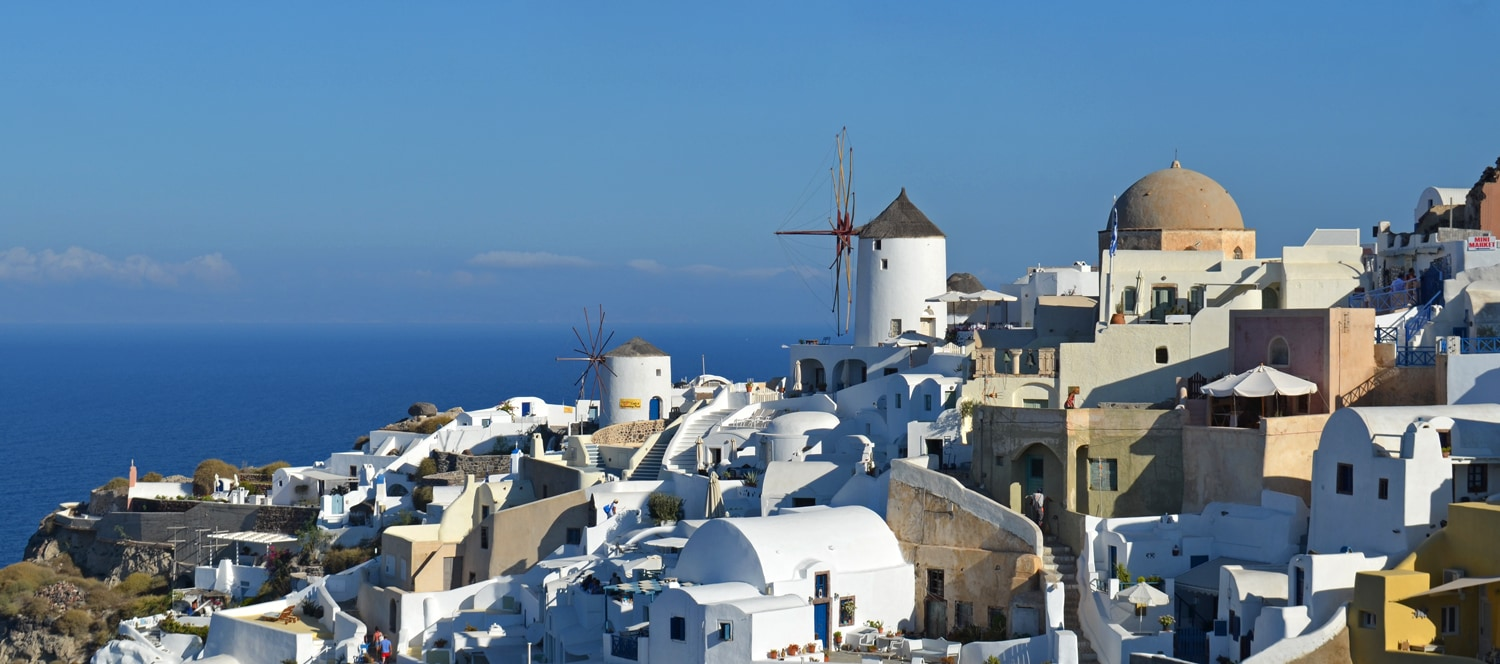 View of Oia Windmills in Santorini