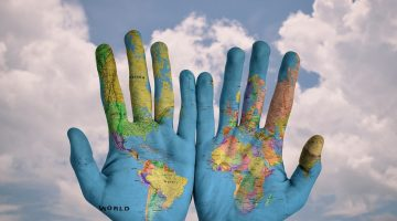 hand with world painted