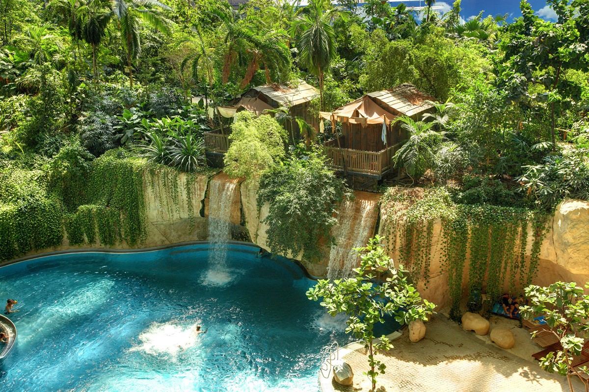 Tropical forest and waterfall inside Tropical Islands Resort