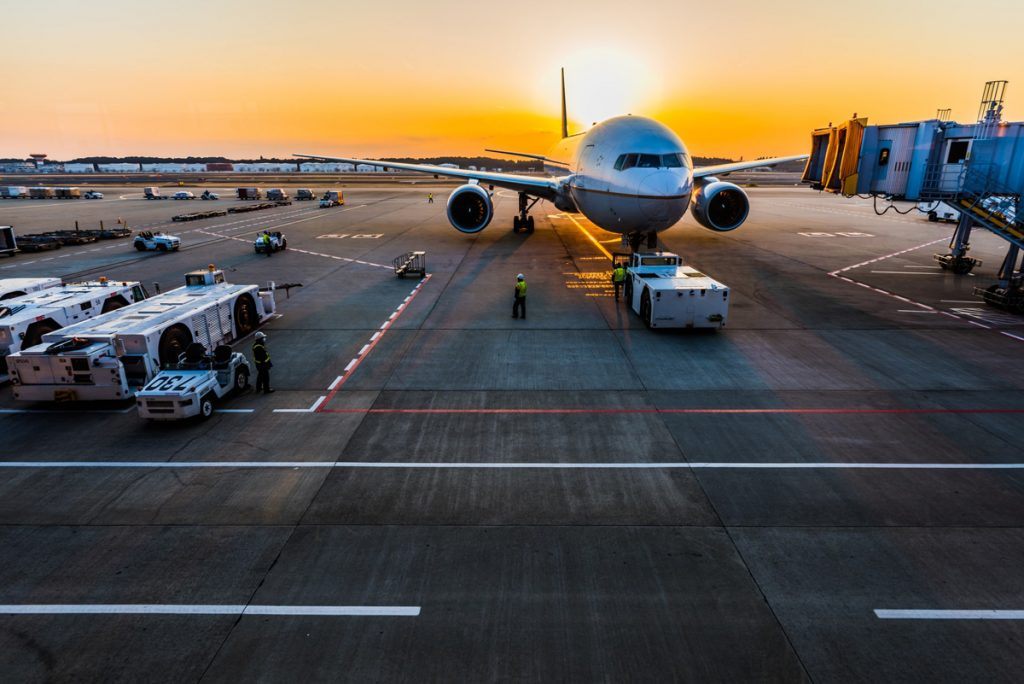 Airline at sunset