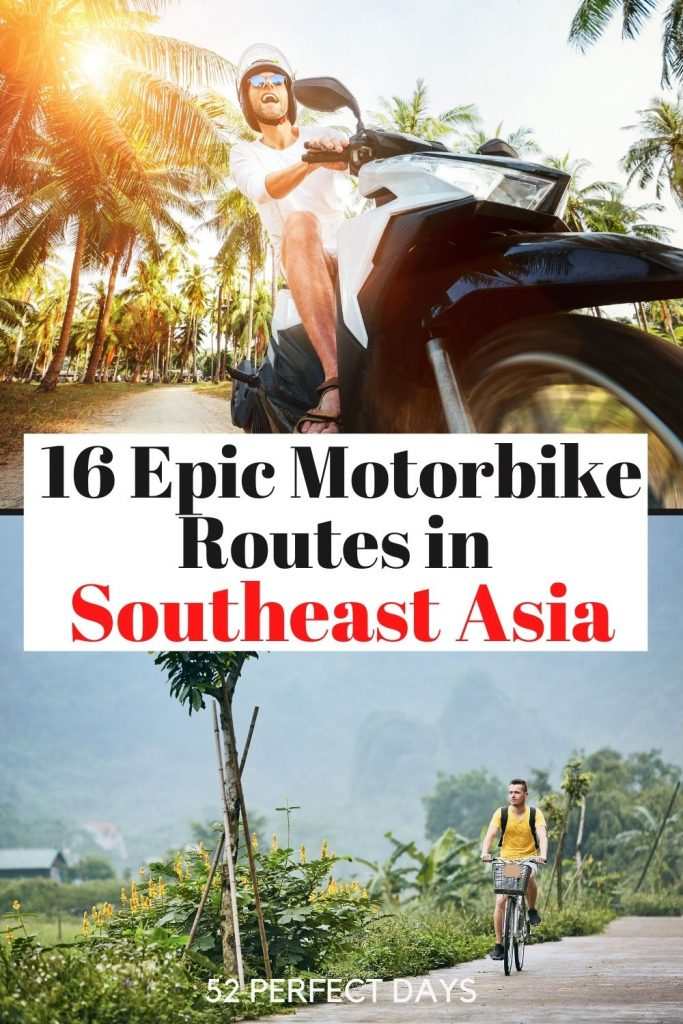 16 Epic Motorbike, Bicycle and Motorcycle Routes in Southeast Asia. Motorbike, bicycle & scooter routes in Thailand, Indonesia, Vietnam, Laos, Myanmar, Malaysia, and Cambodia. Bucket list travel | SE Asia Travel | SE Asia Routes | Southeast Asia routes | Vacation ideas SE Asia | Plan a trip to SE Asia | Plan a vacation to Southeast Asia | Ha Giang Loop, Vietnam | Bolaven Plateau, Laos |Mae Hong Son Loop, Thailand | Hai Van Pass, Vietnam | Bali, Indonesia