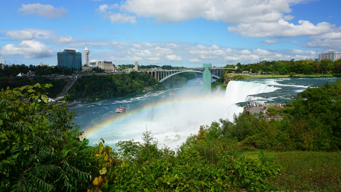 Niagara Falls with rainbow. View from New York side.
